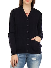Solid Black Cotton Front Open Cardigan - By
