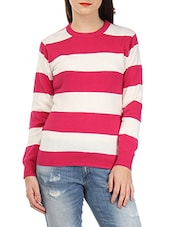 Pink And White Striped Cotton Sweater - By