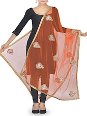 Orange Stone Embellished Net Dupatta - By