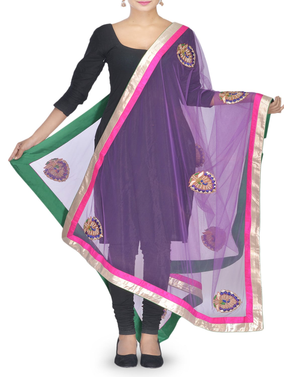Purple Stone Embellished Net Dupatta - By