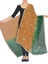Orange And Green Stone Embellished Sequined Dupatta - By