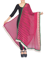 Pink And Green Leheriya Dupatta With Laced Ends - By