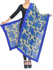 Blue And Beige Floral Printed Cotton Patchwork Dupatta - By