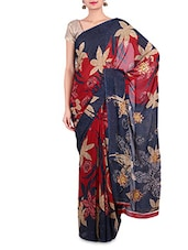 Red And Navy Blue Floral Printed Silk Saree - By