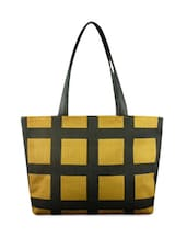 Mustard And Black Checkered Jute Shoulder Bag - By