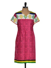 Multi Color Short Sleeve Geometric Print Kurta - Chitwan Mohan