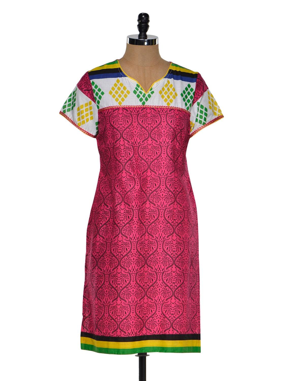 Multi Color Short Sleeve Geometric Print Kurta - Chitwan Mohan