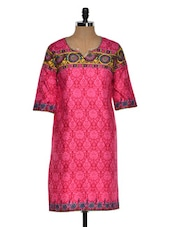 Multi Color Quarter Sleeve Geometric Print Kurta With A Hint Of Yellow - Chitwan Mohan