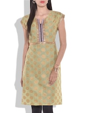 Light Green Printed Short Sleeved Cotton Kurti - By