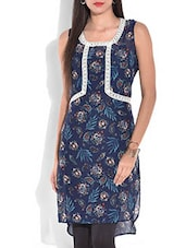 Blue Printed High Low Kurta - By
