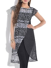 Black And White Printed Short Sleeve Kurta - By