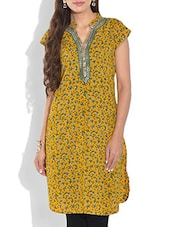 Yellow Printed Short Sleeved Cotton Kurti - By