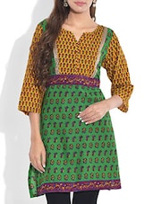 Green And Yellow Printed Cotton Kurti - By