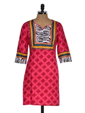 Geometric Print Kurta With Monochrome Neck And Sleeve Ends - Chitwan Mohan