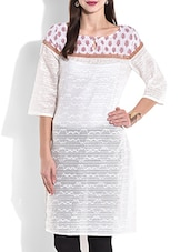 White Cotton Kurta With Printed Yoke - By