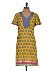 Multi Colour Drop Printed Short Sleeve Kurta - Chitwan Mohan
