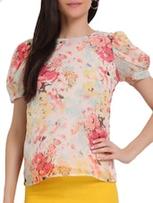 Cream Floral Printed Top - Sweet Lemon