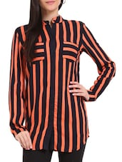 Navy Blue And Orange Striped Tunic - Sweet Lemon