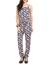 Navy Blue Floral Printed Jumpsuit - Sweet Lemon