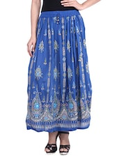 Blue Embroidered And Embellished Rayon Maxi Skirt - By