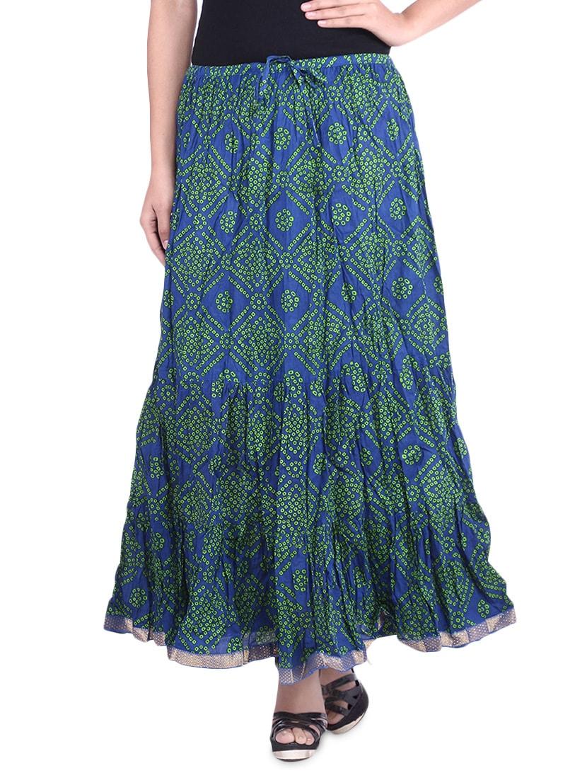 Blue Bandhej Printed Cotton Maxi Skirt - By