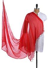 Red Chiffon Plain Dupatta - Dupatta Bazaar