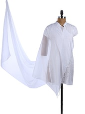 White Chiffon Plain Dupatta - Dupatta Bazaar