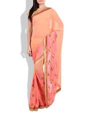 Peach embroidered georgette saree available at Limeroad for Rs.17790