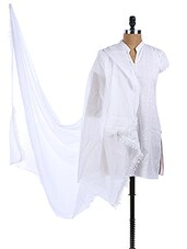 White Chiffon Plain Dupatta - Dupatta Bazaar - 968340