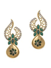 Green And Gold Brass Stonework Earrings - By