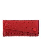 Maroon Textured Leatherette Wallet - By