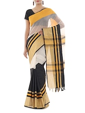 Black And White Art Silk  Saree - By