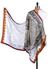 Black And White Block Printed Silk Dupatta - Dupatta Bazaar