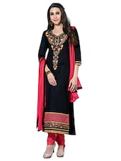 Black And Pink Embroidered Unstitched Suit Set - By