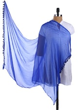 Royal Blue Pom Pom Border Plain Sheer Chiffon Dupatta - Dupatta Bazaar