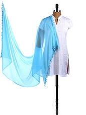 Sky Blue Pom Pom Border Plain Sheer Chiffon Dupatta - Dupatta Bazaar