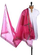 Pink Check Bhagalpur Silk Dupatta - Dupatta Bazaar