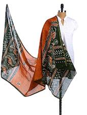 Mustard-Green Chanderi Silk Batik Print Dupatta - Dupatta Bazaar