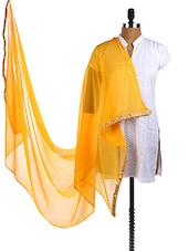 Yellow Chiffon Embroidered Border Dupatta - Dupatta Bazaar