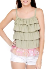Stylish Pastel Green  Poly Georgette Ruffle Top - Palette