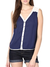 Chic Dark Blue  Poly Georgette Top - Palette