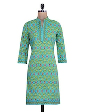 Green And Blue Cotton Printed Kurti - By