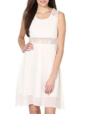Flaunt Your Style White Poly Georgette Dress - Palette