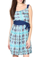 Stylish Blue Printed  Polyester Georgette Dress - Palette