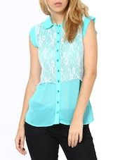 Lovely Aqua Green  Lace Shirt - Palette