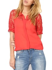 Fabulous Bright Red  Poly Georgette Top - Palette