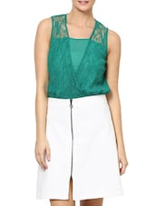 Stylish Green Sleeveless Top In Lace - Palette