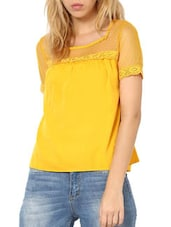 Bright Yellow  Stylish Poly Crepe Top - Palette