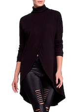 Black Cotton Front Overlap Cape - By