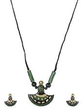 Green Terracotta Axe Shaped Jewelry Set - Fashionography